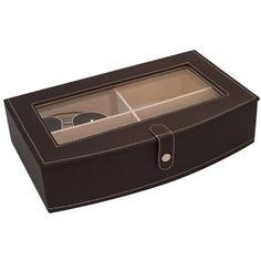 Porta-oculos-de-couro-marrom-32-x-20-x-7-cm- R$ 130.00