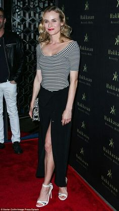 Monochrome Missy: Diane Kruger stunned on Tuesday evening at Flaunt Magazine's party in Beverly Hills