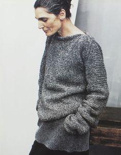 Peter Lindbergh for Donna Karan, 1998. Grey sweater, black pants