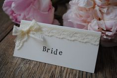 Handmade Romantic Lace Wedding Place Name Cards / by kibbiecards, £1.00