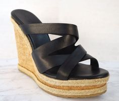 98d1ce62f8fb JIMMY CHOO 39 Prisma Black Leather Espadrille Wedges Sandals 8.5  JimmyChoo   Espadrilles  Casual