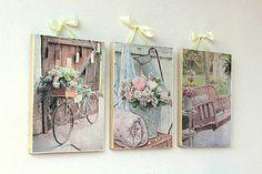 HaM / 3 obrázky so Shabby motívom na masívnom dreve, vešanie na saténovej stuhe.  Rice paper picture on wood with ribbon