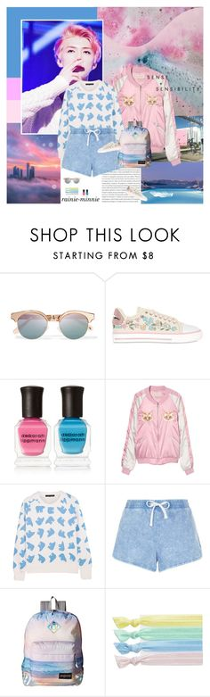 """Pink and Blue"" by rainie-minnie ❤ liked on Polyvore featuring Oris, Le Specs, RED Valentino, Deborah Lippmann, Perfect Moment, New Look, JanSport and Ribband"