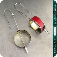 Looped: Red & Black -- Upcycled Tin Earrings by christineterrell on Etsy