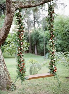 Gorgeous floral swing: http://www.stylemepretty.com/destination-weddings/2016/04/09/christmas-inspired-wedding-in-mountains-of-honduras/ | Photography: Vicki Grafton - http://vickigraftonphotography.com/