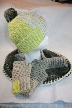Crochet Hat, Fingerless Glove and Double Wrap Infinity Cowl Set w/Free Shipping by pamsprideembroidery on Etsy