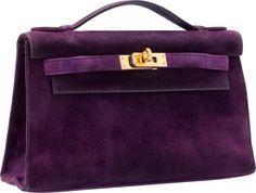 Hermes Violet Veau Doblis Suede Kelly Pochette Bag with Gold Hardware.