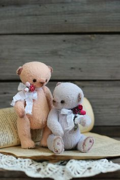 "Teddy Bears handmade. Fair Masters - handmade. Buy Teddy Bears ""Tender couple."" Handmade. Pink - Sozonova Julia (Vintage hares). Online Store Fair Masters."