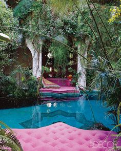 OMW look at this delicious #tiled pool, with the fabulous feel of a #turkish #harem, outdoor courtyard and leafy trees - pink and turquoise colourway