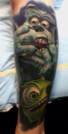 My favorite Pixar film: Monsters inc. tattoo. Awesome.