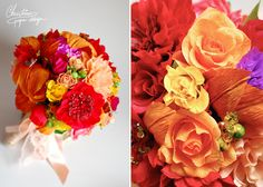 DIY alternative weeding bouquet with colourful paper flowers.