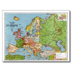 Map of Europe Postcards
