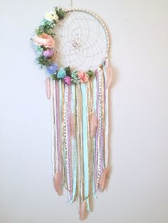 flower fabric I just love the soft, fresh feel of this feminine, pastel dreamcatcher! The base is wrapped in white/gold yarn with a cream twine hand woven authentic web holding 2 specia Diy And Crafts, Arts And Crafts, Boho Bedroom Decor, Bedroom Ideas, Dream Catcher Boho, Beaded Flowers, Modern Wall, Twine, Fabric Crafts