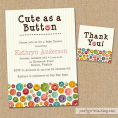 Cute as a Button Baby Shower Invitations – DIY Printable Invitations – FREE Matching Thank You Tags,