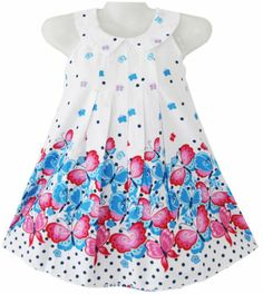 Girls Dress White Collar Blue Butterfly Kids Clothing Size 2-8 New
