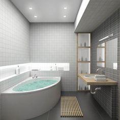 We share with you bathroom design ideas, modern bathroom design, small bathroom designs, luxury bathroom designs in this photo gallery. Small Bathroom Decor, Corner Bathtub, Bathroom Interior, Small Bathroom, Minimalist Bathroom, Simple Bathroom, Bathroom Colors, Bathroom Flooring, Tile Bathroom