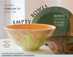 """Pewabic Pottery """"Empty Bowls""""  Event - All Proceeds Donated To Gleaners Community Foodbank"""