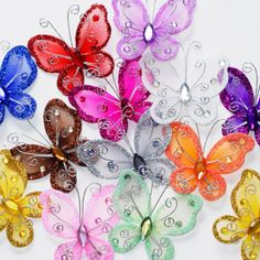24 Organza nylon wire butterfly wedding arts and crafts decorations big. Butterfly Table, Butterfly Wedding, Butterfly Crafts, Butterfly Wings, Wedding Venue Decorations, Party Table Decorations, Christmas Decorations, Craft Decorations, Wedding Art