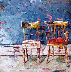 Still waters runs deep 69x60cm oil on canvas by Róisín O'Farrell -Sold in London