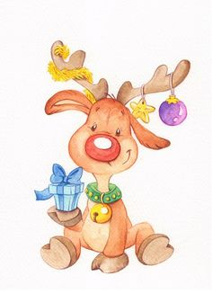 ▷ beautiful drawing ideas with detailed instructions- ▷ 1000 + schöne Zeichnen Ideen mit detaillierten Anleitungen Cute Christmas picture to paint, reindeer holds Christmas present, painting ideas for beginners - Diy Christmas Cards, Christmas Clipart, Christmas Images, Diy Christmas Ornaments, Christmas Art, Vintage Christmas, Christmas Decorations, Christmas Pictures To Draw, Christmas Cookies