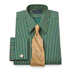 Trim Fit 2-Ply Cotton Satin Stripe Straight Collar French Cuff Dress Shirt $65.00 AT vintagedancer.com