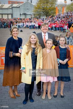 King Willem-Alexander, Queen Maxima, Princess Amalia, Princess Alexia and Princess Ariane attend the King's 50th birthday during the Kingsday celebrations on April 27, 2017 in Tilburg, Netherlands. (Photo by Patrick van Katwijk/Getty Images)