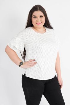 Frill Sleeve Top White with Black Pin Dots ---www.BEESKITESHOP.com