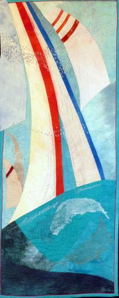 Full Sails by Pamela Morris (Florida). Sailing art quilt.  Photo by Sue Garman: July 2012
