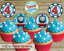 "Thomas The Train ""Choo Choo"" Cupcake Toppers, for 4th Birthday, 2 Inch Cake Signs or Confetti, 16 Per Printable Page, You Print and Cut"