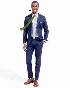J.Crew men's Ludlow Italian chino suiting jacket and pant, slim secret wash white collar shirt, cotton-linen tie, Irish Mélange linen pocket square, and Ludlow plain-toe blucher shoes.