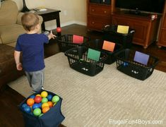 10 Ball Games for Kids - Ideas for Active Play Indoors! - Ball Games for Kids – Ideas for Active Play Indoors! – Frugal Fun For Boys and Girls 10 Indoor Ball Games for Kids - Toddler Learning Activities, Infant Activities, Games For Preschoolers Indoor, Indoor Games For Kids, Preschool Games, 2 Year Old Activities, Activities With Toddlers, Color Games For Toddlers, Teaching Toddlers Colors