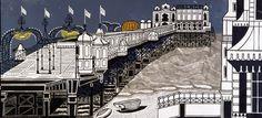 Edward Bawden, Brighton Pier, linocut, 1958