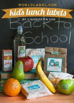 Free Printables: Personalized Kid's Lunch Labels by Lia Griffith