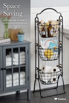 This 3-Tier Market Basket Stand is the practical and elegant storage solution that will bring organization to any room of the house. Each of the 3 generous-sized baskets is ideal for holding everything from fruits and vegetables to toys and linens.