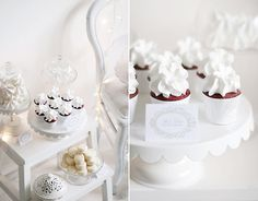Red velvet cupcakes by Call me cupcake White Dessert Tables, Vintage Dessert Tables, White Desserts, Party Desserts, Wedding Desserts, Wedding Cupcakes, Wedding Cake, Wedding Reception, Beautiful Cupcakes