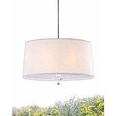 crystal finial 3-light parchment ceiling chandelier.  drum shade pendant, line with metallic paper on inside??