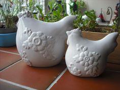 Decorative ceramic hens