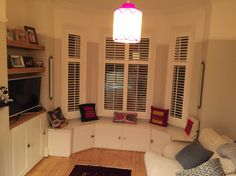 Our living room. We just need to make / buy a window seat cushion