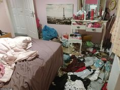 Frustrated parents share their teenage children's untidy bedroom horrors Messy Bedroom, Personal Investigation, Grunge Room, Headspace, Seven Deadly Sins, Mom And Baby, Horror, Parents, Room Decor
