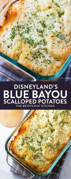 Blue Bayou Scalloped Potatoes recipe from Disneyland. This dinner side dish is creamy with a hint of spice and a dash of parmesan cheese - so good! Perfect for big dinners or holiday side dish ideas! I love Disneyland recipes! #disneylandrecipes #bluebayou #scallopedpotatoes #bluebayourscallopedpotatoes #sidedish #potatorecipes #holidaysidedish