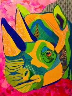 "Cut paper Collage art 24""x32"" on board. ""Razzmatazz Rhino"" by Laura Yager. Paper collage art, rhino artwork, baby rhino artwork, Safari animal artwork, abstract animal artwork"