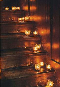 Romantic candles on the stairs