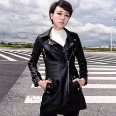 Leather Jackets Ladies Leather 2017 Winter New Arrival Women's Leather Jacket Slim Skirt Style Long Winter Coat Female Plus Size