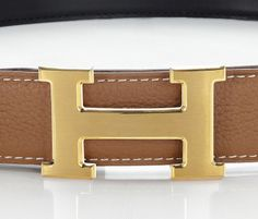 hermes leather belt with h