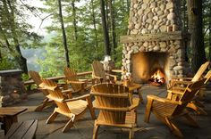 outdoor fireplace with my chairs