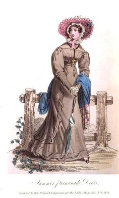 Ladys Magazine, Summer Promenade Dress, June 1825. What a charming outfit! Such interesting and unusual trim!