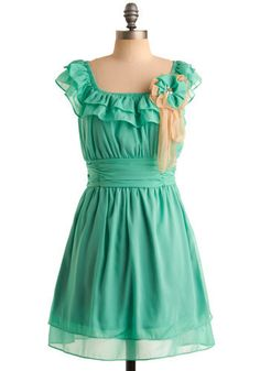 Seafoam Affection by MODCLOTH. I love this color! I would probably look like a fool wearing this dress though.