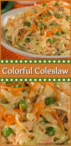 With cabbage, carrots, onions, peas and bacon bits, this Colorful Coleslaw is far from average. Plus, a dash of lemon pepper seasoning kicks it up a notch! Healthy Coleslaw Recipes, Lemon Pepper Seasoning, Vegetarian Main Dishes, Cabbage Slaw, Bacon Bits, Onions, Carrots, Side Dishes, Kicks