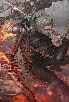 Geralt de Rivia ilustraciones detalle La Espada en la Tinta