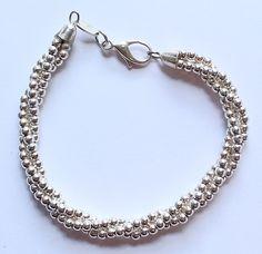 Vintage Sterling Silver Triple Strand Beaded Italian Bracelet by paststore on Etsy